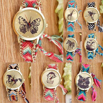 AZ New Fashion Women Weaved  Bracelet Dial Animal Quarzt Watch Wristwatch