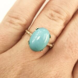 5-5-ct-tw-Natural-Blue-Turquoise-amp-Diamond-Solid-14k-Yellow-Gold-Cocktail-Ring