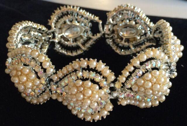 Glamorous Vintage Kramer Bracelet~Pearls/AB Rhinestones/Silvertone~Signed