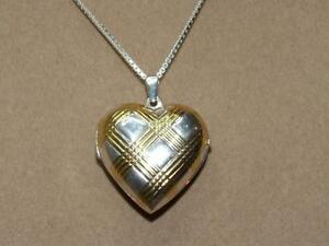 Signed-M-Italy-Sterling-Silver-Vermeil-Criss-Cross-Heart-Picture-Locket-Necklace