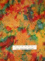 Batik Textiles Fabric - Hexagon On Yellow Green Red - Quilt Cotton Yard