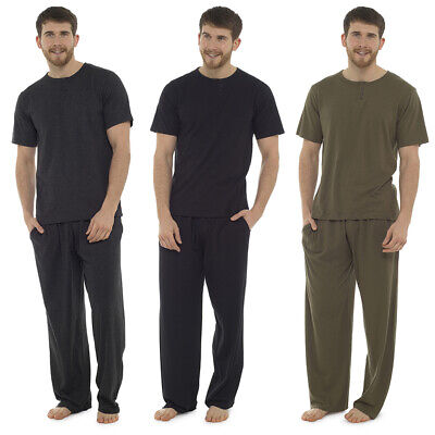 Sizes M-XXL Mens Button Placket Top Plain Cotton Jersey Short Pyjamas Set