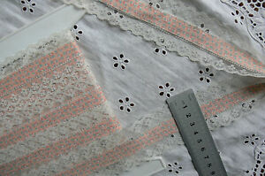 TEAL-Floral-Apricot-Fabric-Centre-amp-IVORY-16mmLaceEdge-3-5Metres45mmWideTotalFT1
