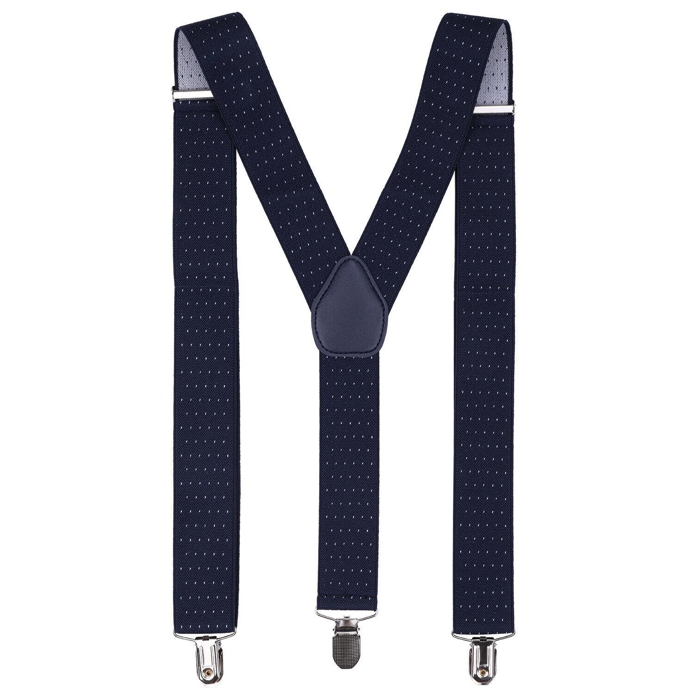 35mm Unisex Hombre Tirantes Azul Marino Con Puntos Blancos Ancho Pesado Elástica