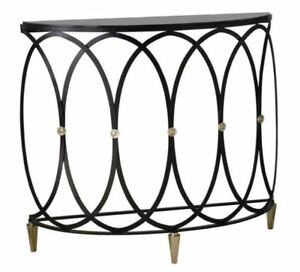 Outstanding Details About Black Iron Entwined Rings Demilune Console Table Open Curved Ovals Granite Gamerscity Chair Design For Home Gamerscityorg