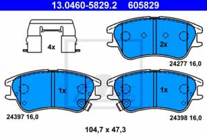 Frein à Disque pour dispositif de freinage Essieu avant UAT 13.0460-5829.2 Bremsbelagsatz