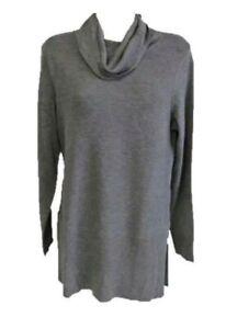 NWT Adrienne Vittadini Cowl Neck Tunic Sweater STEEL HEATHER GRAY Size XL