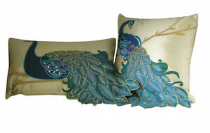 2PCS-Vintage-Vivid-Peacock-Embroidery-Decorative-Pillow-Case-Cushion-Cover-Sham
