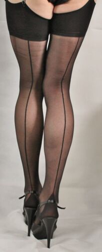 Extra Tall Black French//Point heel seamed  Stockings