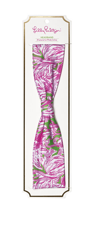 LILLY PULITZER HEADBAND COLONY ROSE Flamingo 2 po en polyester avec spandex large NW