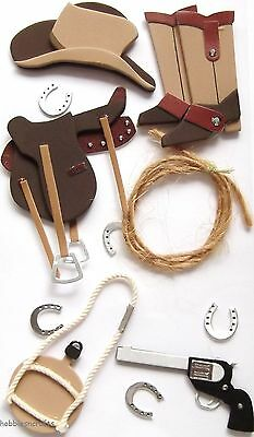 EK SUCCESS JOLEE'S BOUTIQUE 3-D FOAM STICKERS - LASSO HAT COWBOY BOOTS WILD WEST