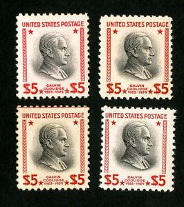 USA TIMBRES Nº 834 très fine Lot de 4 ORIGINAL GUM jamais charnière Scott valeur 300.00 $