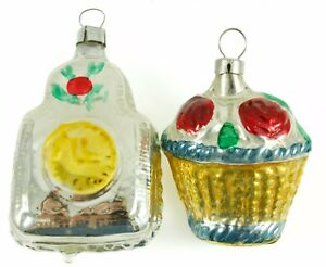 Glass Silver West Germany Gold Basket Christmas Ornament Holiday Decoration Lot