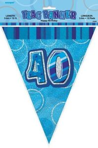 GLITZ-BLUE-FLAG-BANNER-40TH-BIRTHDAY-3-6M-12-039-BIRTHDAY-PARTY-DECORATION