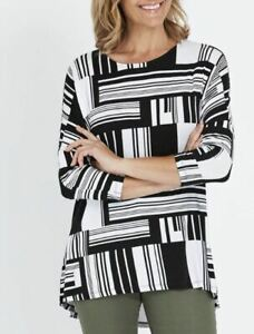 MILLERS-Blouse-Plus-Size-16-18-20-22-Top-Shirt-Black-White-3-4-Sleeve-Tunic