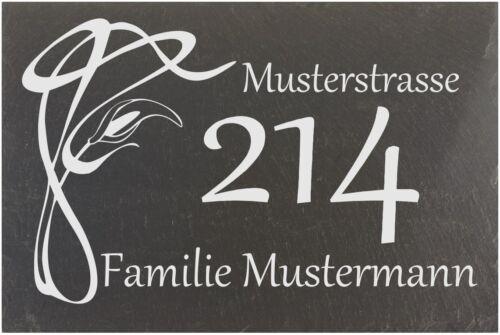 Hausnummer Türschild Namensschild Schiefer Gravur Wunschgravur 20x10 #0013