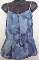 Arizona Jeans Blue Camo Camouflage Peplum Tank Top Juniors Sizes M-1x