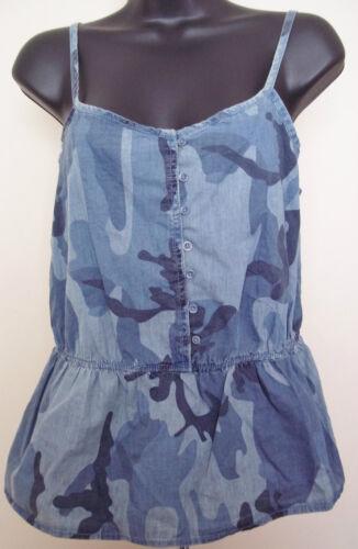 Arizona Jeans Blue Camo Camouflage Peplum Tank Top NWT Juniors Sizes M-1X