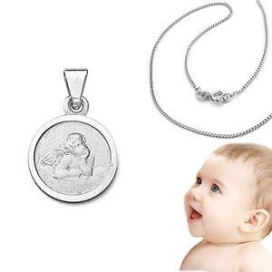 Details Zu Baby Taufe Kinder Schutzengel Anhänger Weißgold 585 14 Kt Mit Silber 925 Kette