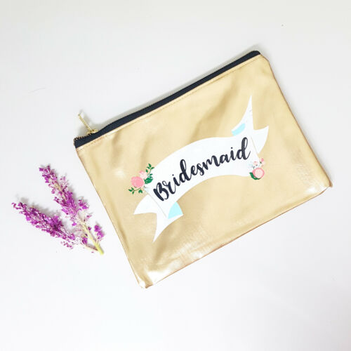 Gold Pouch Wedding Bag Bridal Bride Bridesmaid Hens Make Up Night Shower Gift