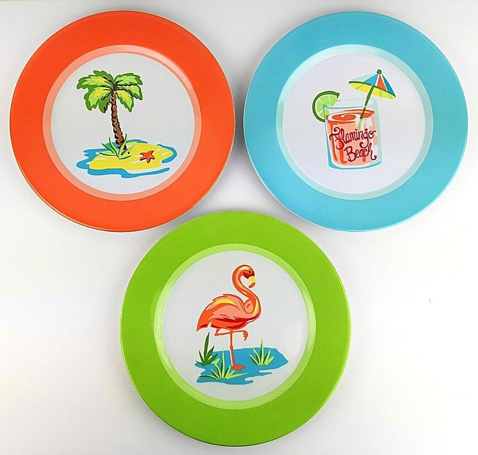 Coastal Living Seascapes Navy and White Flamingo Toucan Tropical Palm Flowers Melamine Salad Plates Set of 4