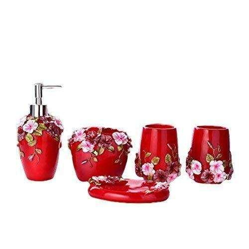5PCS Bathroom Accessories Set Soap Dispenser Toothbrush Holder Tumbler Soap Dish