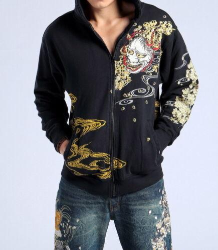 Mens Japanese Pattern Embroidery Sweatshirt Jacket Hoodie Sukajan Tattoo Devil