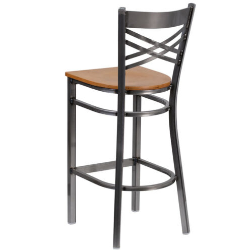 Clear Coated /'/'X/'/' Back Metal Restaurant Barstool Natural Finished Wood Seat
