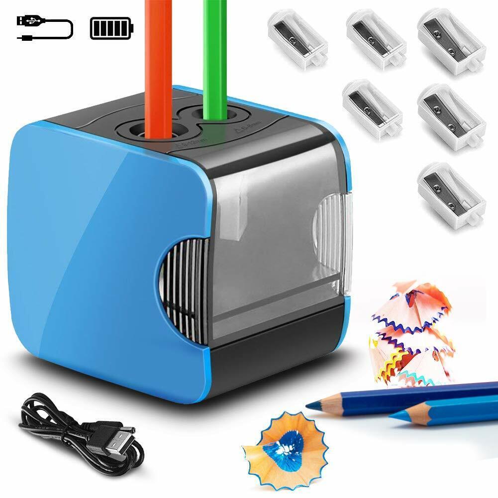 Elektrischer Anspitzer DOPPELT Bleistift Spitzer Spitzmaschine für Schule Büro