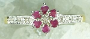 NEW-9CT-Plated-Solid-925-Sterling-Silver-Natural-Ruby-amp-Diamond-Ring-Size-O1-2