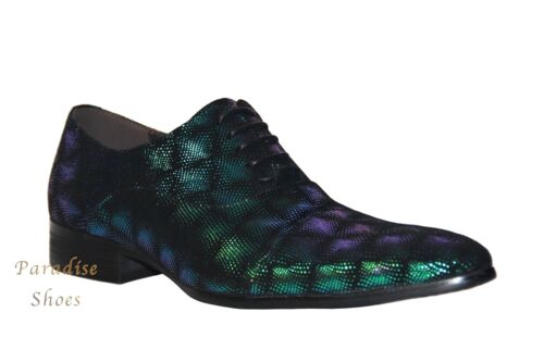 Zota Unique Men/'s Formal Sparkly Green Suede Oxford Shoes GF960-1A
