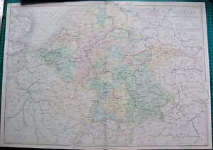 Details about 1850 ANTIQUE MAP- CENTRAL EUROPE, BY W HUGHES
