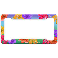 Tropical Hibiscus Hawaii Flower Pattern License Plate Frame