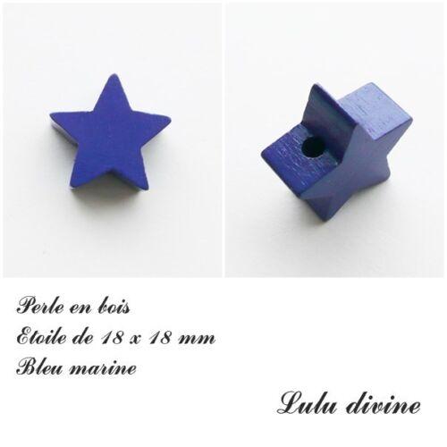 Bleu marine Perle plate Etoile Perle en bois de 18 x 18 mm