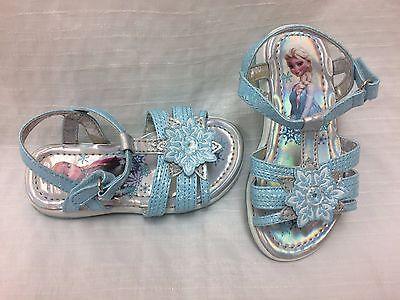 Blue B15 New Girls Toddler Disney Frozen Snowflake Light Up Iridescent Sandals