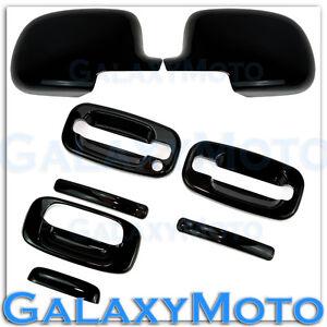 99-06 Chevy Silverado Gloss Black Mirror+2 Door handle w/o PSG KH+Tailgate Cover