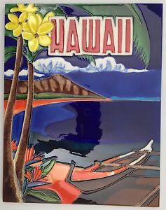 """Hawaii Island Nostalgic Art Tile 11x14"""" Canoe Diamond Head Beach Waikiki C-144"""