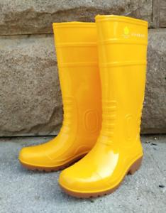 men's rain waterproof knee boots yellow skid casual