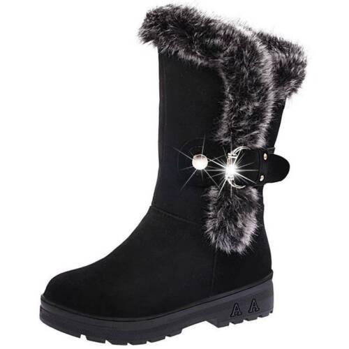 Women Snow Boots Shoes Warm Fur Lined Slip On Waterproof Biker Snow Shoes Size