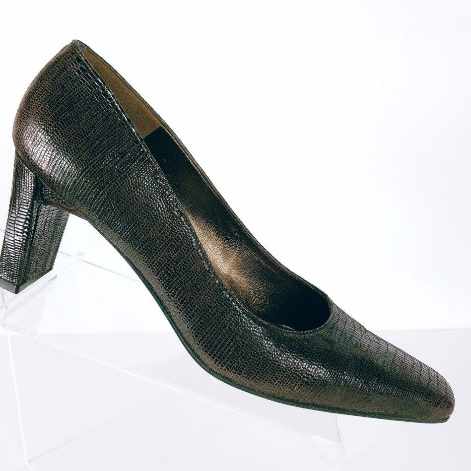 Stuart Weitzman Women's Brown Patent Leather Suede Leather Lizard Print Pump 9AA