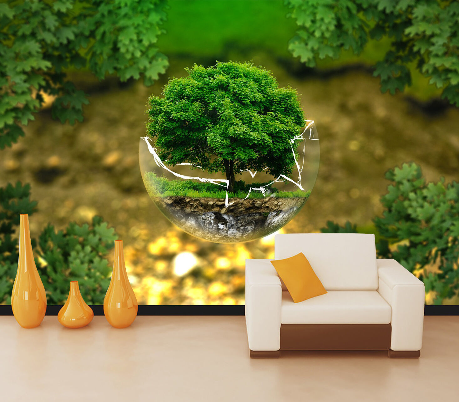 3D tree plant Grüning Wall Paper Print Decal Wall Deco Indoor wall Mural