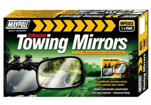 UNIVERSAL PAIR of EXTENSION CONVEX TOWING MIRRORS CARAVAN TRAILER
