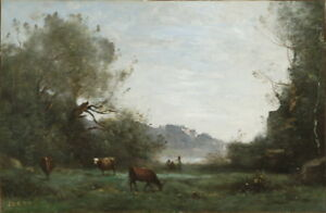 Jean-Baptiste-Camille-Corot-Cattle-at-Pasture-in-a-Wooded-Valley-Canvas-Print