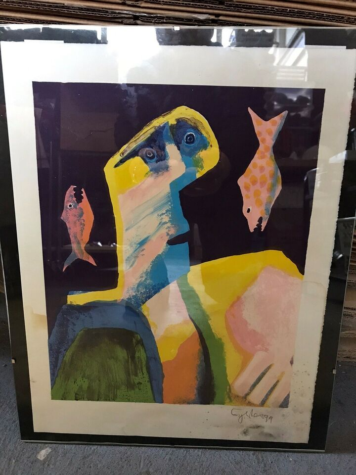 Farve Litografi, Leif Sylvester, motiv: Abstrakt