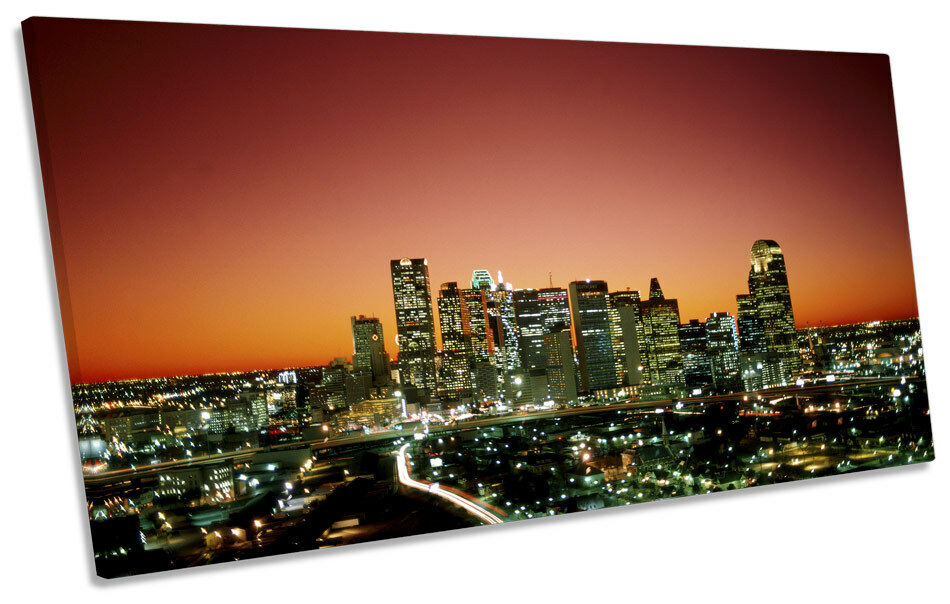 Dallas Texas City Skyline PANORAMIC CANVAS WALL ART Print Picture