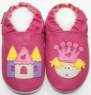 soft sole baby leather shoes slippers caterpillar fuchsia 6-12 m US 3-4