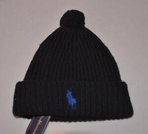 da98a9454e7 Ralph Lauren Polo Hat Bonnet Chapeaux Laine D agneau Neuf Noir Pom ...
