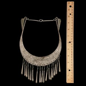 Antique-Vintage-Deco-Sterling-Silver-Plated-Chinese-Miao-Wedding-Collar-Necklace