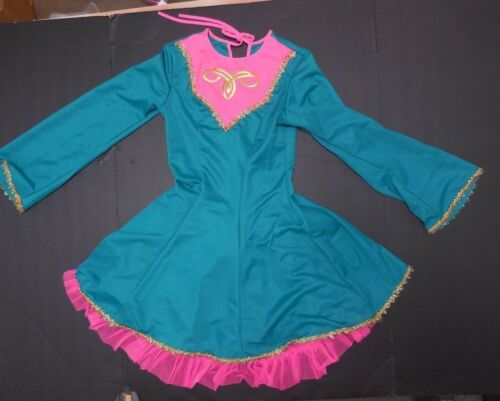 NWOT Irish Celtic Dress w//petticoat Jade G pink Gold Motif Long Sleeve ch//ladies
