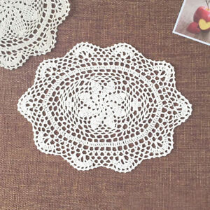 4Pcs-Lot-White-Vintage-Hand-Crochet-Lace-Doilies-Oval-Placemats-Wedding-10-034-x14-034